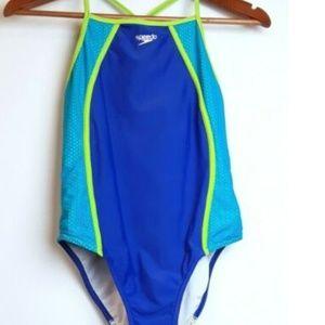 Speedo One-Piece High Neck Swimsuit Bathing Suit